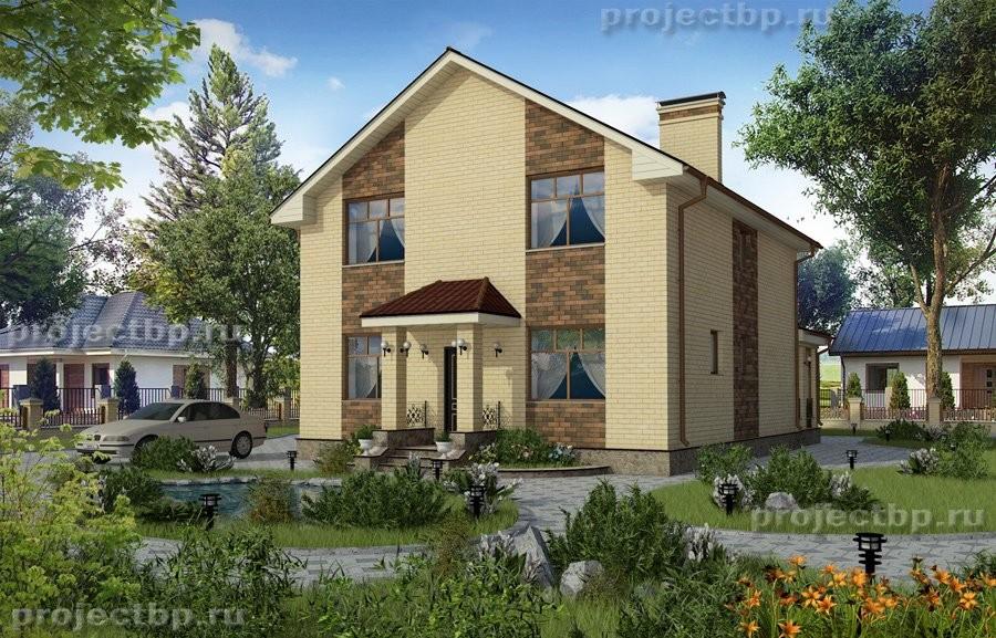 Проект одноэтажного дома с высокой мансардой и верандой 152-B-1